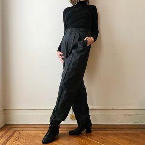 vintage pinstripe high waist wool menswear trouser